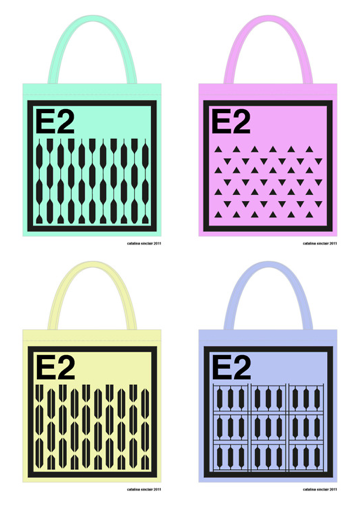 Cat's E2 tote bag designs