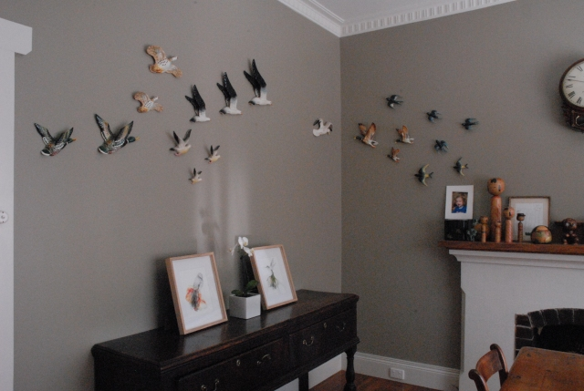 Lovely antique bird wall feature - dinning room