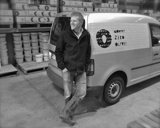 Richard Seymour & this van-about-town. Mt Zero Olives warehouse 2012.