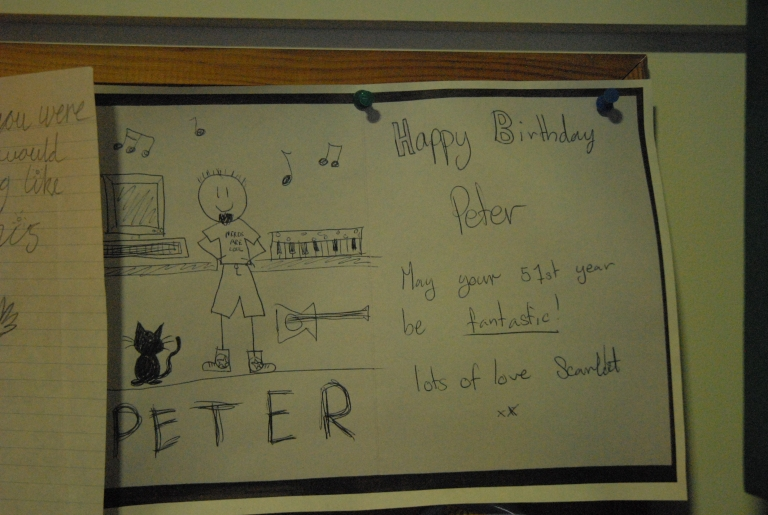 Hand penned birthday notes from Peter's stepdaughters