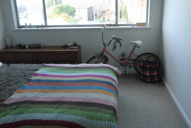 A view into the bedroom - featuring Nova the pink pick-up ride
