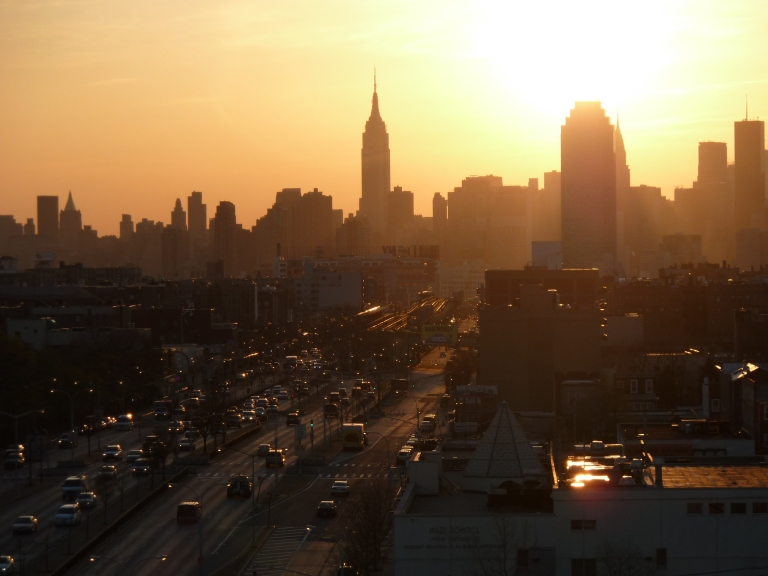 Amy 's view from the rooftop of her Queens apartment