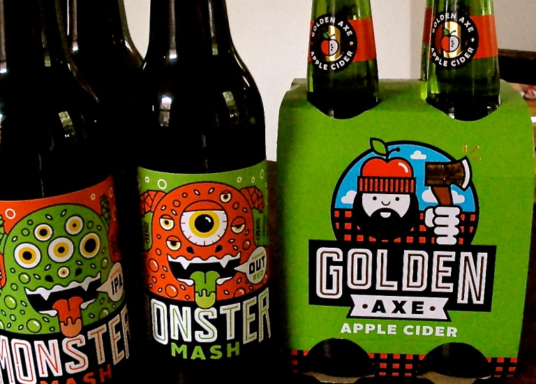 Monster Mash beer and Golden Axe cider.