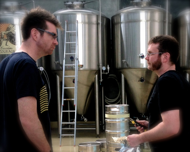 Callum and Nat Reeves getting serious about beer.