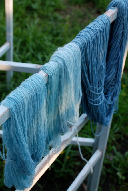 Woollenflower, Dyeing yarn with woad