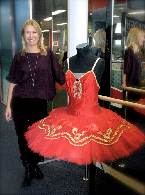 "Joanne Werner with ""the red tutu"" ACTF offices Melbourne"