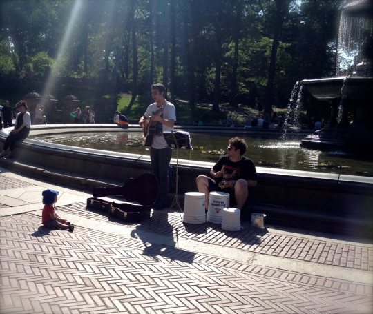 Gabriel and friend busking in Central Park, New York