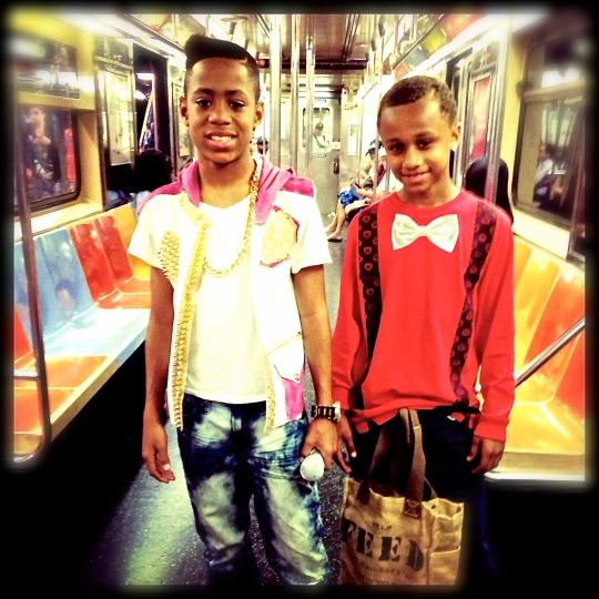 TJ & Little Bro, R line, New York Subway