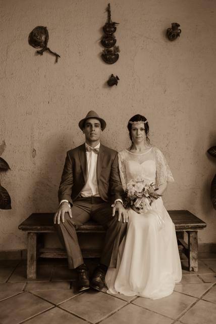 Arturo and Sophia on their wedding day